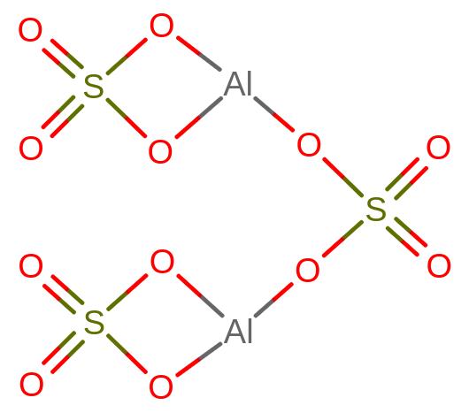 Budowa cząsteczki siarczanu glinu (Al2(SO4)3)